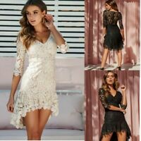 Plus Size Womens Lace Party Mini Dress Ladies Evening Cocktail Short Sundress UK