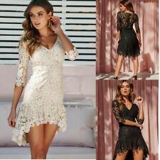 Plus Size Womens Lace Party Mini Dress Ladies Evening Cocktail Short Sundress UK