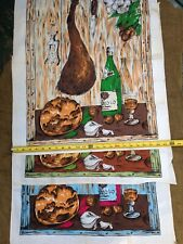 New listing 1960'S Lot Of 3 Italian Picnic Kitchen Towels Prosciutto Barolo Wine Garlic Loaf