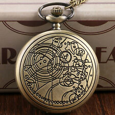 Doctor Who Antique Long Chain Quartz Pocket Watch Stainless Steel Collectable