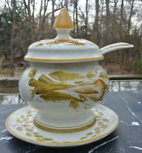 Vintage Italian Yellow Ceramic Tureen with Platter & Ladle Hand Painted