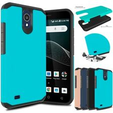 For AT&T AXIA QS5509A/Cricket Vision Shockproof Armor Hybrid Slim Rubber Case