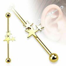 "1-1/2"" 5mm Balls Barbell Body Jewelry Industrial w/Stars Gold Plate 14 Gauge"
