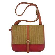 Fossil Straw Rattan Pink Flap Crossbody Vintage Bag Purse #SHB1057