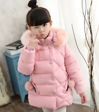 Kids Girls Winter Thick Cotton Down Jacket Hooded Quilted Padded Warm Coat Parka