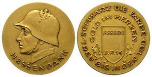 "Old German Medal Hessendank ""Gold im Herzen"" 27g, D.40mm -vergoldet, II - RARE"