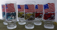 WOW! ANCHOR HOCKING NATIONAL FLAG FOUNDATION GLASS * SET OF 6 * BICENTENNIAL *