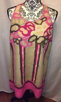 Ranna GiLL by Anthropologie Embroidered Pink Khaki Short Dress Size Medium