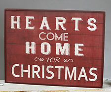 """Hearts Come Home for Christmas Wood Sign Holiday Home Decor 13"""" x 16"""""""