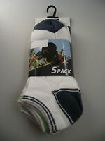 BNWT Boys Perfect Sports Brand Ankle Socks Pack of 5 Size 2-7 Age 10+ Years