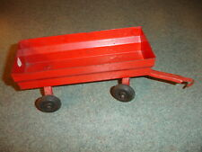 Old Vtg Antique Collectible Pressed Steel Red Toy Wagon/Trailer