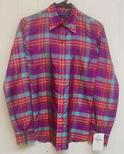 NWT $146 Women's Ralph Lauren Sport 100% Silk LS Button Down Shirt, Size 6.