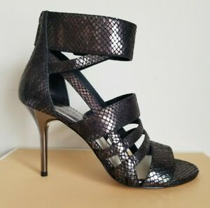 Michael KORS SHILOH SNAKE EMBOSSED PETROL CAGE LOGO ZIP GLADIATOR  I LOVE SHOES
