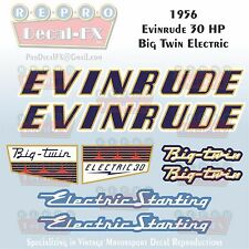 1956 Evinrude 30 HP Electric Big Twin Outboard Repro 8Pc Vinyl Decal 25022-25023