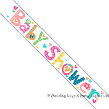 9ft Sparkly Holographic Foil Baby Shower Banner Boys Girls Party Decoration