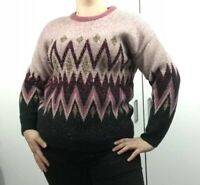 ladies Angle Jumper Glitter Blogger Pink Green Loud long sleeves Warm Size 12