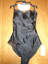 BNWT ladies black swimming costume / suit. tummy control & detachable strap.Sz8