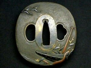 Edo period Japan antique Brass Boat Sea Gull Mito school Tsuba Box sword katana