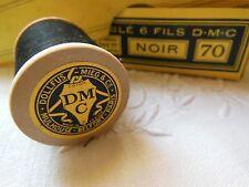 antiguo bobina de madera DMC hilo negro 457 metros jamais utiliza