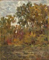 """Russischer Realist Expressionist Öl Leinwand """"Herbst"""" 50 x 40 cm"""