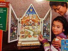 Kurt Adler Lighted Musical Stained Glass Look Nativity Advent Calendar