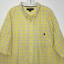 US Polo Assn 4XL Yellow Shirt Big Mens Plaid Short Sleeve Button Down Cotton