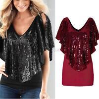 Women Lady V-Neck Sequin Tunic Top Long Blouse Short Sleeve Shirt T-Shirt S-XL