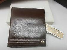 Portafoglio da uomo NINA RICCI in pelle Marrone-VINTAGE-Leather wallet men-NUOVO