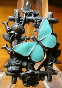 """Antique from France """"ENAMEL TURQUOISE BUTTERFLY ON TRELLIS"""" Vintage Metal Button"""