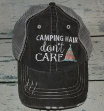 Ladies Camping Hair Don't Care Distressed Trucker Hat Womens Cap Embroidered