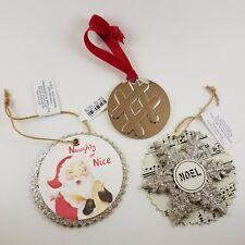 Pottery Barn Set of 3 Ornament ~ Metal Hashtag ~ Music Snowflake ~ Santa ~ New