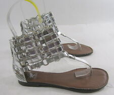 Summer Silver Womens Shoes Roman Gladiator Flat Sandals Size 5.5