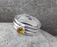Citrine Solid 925 Sterling Silver Spinner Ring Meditation statement Ring SR305
