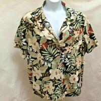 Cathy Essentials 3X Top Floral Hawaiian Shirt Tropical Plus Size Short Sleeve