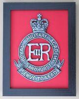 Large Scale Framed ROYAL MILITARY ACADEMY SANDHURST CAP BADGE Plaque