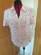 MARKS AND SPENCER. SHORT SLEEVE BLOUSE.  SIZE 12  PINK FLORAL
