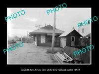 OLD LARGE HISTORIC PHOTO OF GARFIELD NEW JERSEY, ERIE RAILROAD STATION c1910