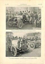 Voiture Baron de Zuylen Président de L'automobile Club de France GRAVURE 1901