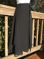 Asymmetric Chiffon Double Wrap Skirt / Beach Cover Up_Black_Free Size_Cute! New