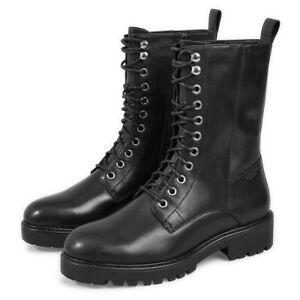 Womens Vagabond Kenova Leather Winter Army Combat Brogue Lace Up Mid Boots UK