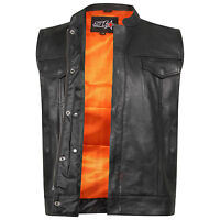 """Mens Motorcycle Son Of Anarchy Gun Pocket Real Leather """"Cut Off"""" Biker Waistcoat"""