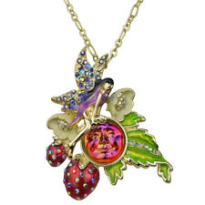 Kirks Folly Strawberry Fairy Seaview Water Moon Pin Pendant With Chain Goldtone