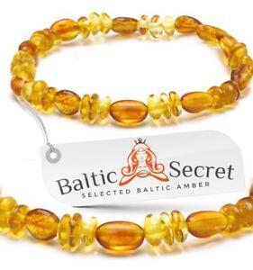 Baltic Amber Anklet Bracelet STRECH Polished Cognac Beads Necklace Necklaces