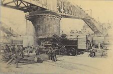 "WW I COMBAT ART PRINT ""BALDWIN LOCOMOTIVES UNLOADED AT BREST""  WESTERN FRONT"