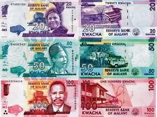 MALAWI - Lotto 3 banconote 20/50/100 FDS - UNC