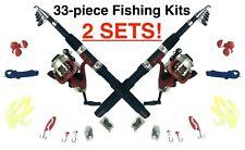 Set of 2 - 33 piece Sets Fishing Kit Telescoping Rod Spinning Reel Hooks Sinkers
