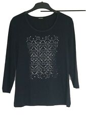 GERRY WEBER Navy Top With Heat Fix Silver Pattern Size M/12/38. Used. 3/4 Sleeve