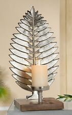 "GILDE Kerzenhalter ""Blatt"" auf Holzbalken Aluminium Mangoholz - 48350"