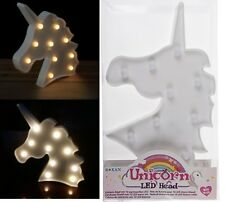 White Plastic Unicorn Head With 10 Warm White LED Light Table Lamp Bedroom Girls