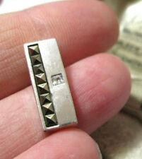 Vintage Jewellery Sterling Silver Signed Marcasite Rectangular Necklace PENDANT